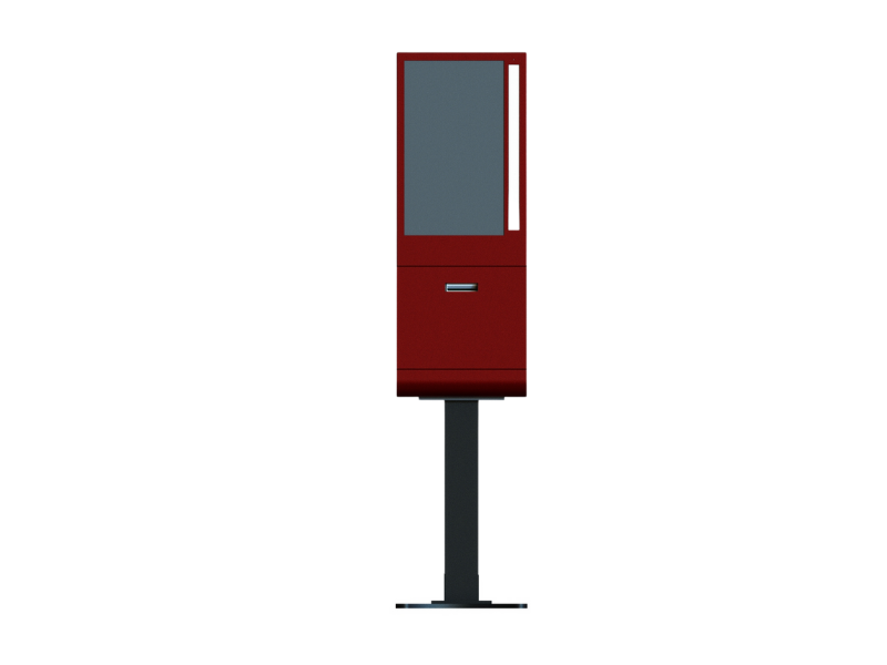 Red Kiosk, Front View, Freestanding Unit